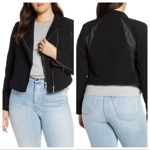 { Blank NYC } Mesh Detail Crepe Jacket Black